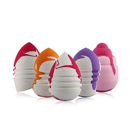 Gracelaza 5 pièces Blender Éponge de Maquillage - Pour appliquer base, fond de teint, correcteur - Poudre libre sans latex, hypoallergénique et sans odeur
