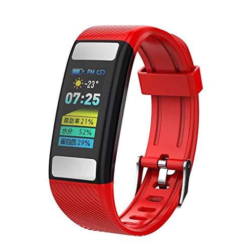 DKFJSKDL Smart Color Screen wasserdicht Tracking Sport Armband Körperfett genaue Herzfrequenzerkennung Schritt Foto@Rot