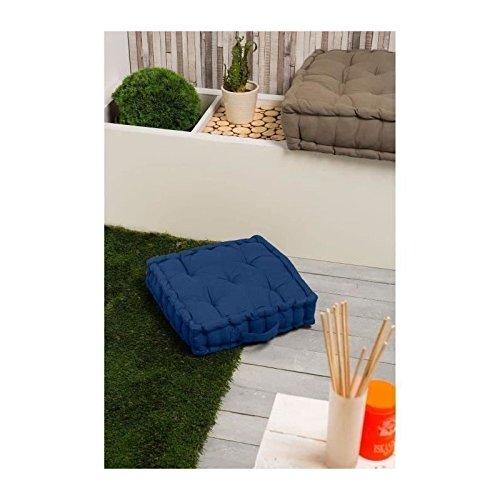FINLANDEK Coussin de sol IMATRA, 100 % coton, bleu 40x40x10 cm