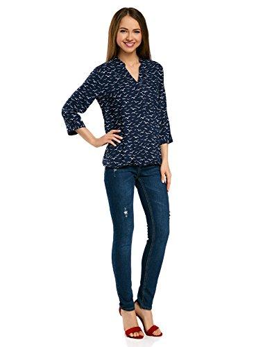 oodji Ultra Damen Viskose-Bluse mit Verstellbaren 3/4-Ärmeln Blau (7910O)