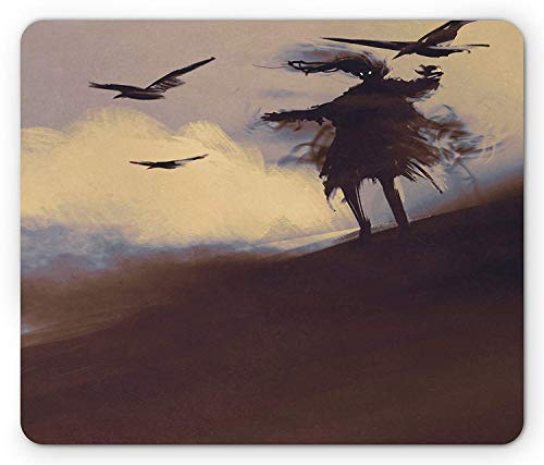 WYICPLO Horror Mouse Pad, Dark Soul from a Scary Movie Film Movie on The Hills with Clouds and Flying Crows Print, Standard Size Rectangle Non-Slip Rubber Mousepad, Black