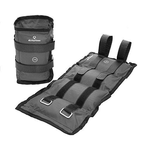 #DoYourFitness 2x Gewichte für Hand- & Fußgelenk ab 0,5kg bis 3kg - robuster Klettverschluß - Knöchelgewichte / Manschetten - Ausdauer-, Kraft- & Cardiotraining'Spartacus' 1kg / grau
