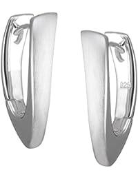 Vinani Damen-Klapp-Creolen V- Form mattiert groß glänzend Sterling Silber 925 Ohrringe CPG