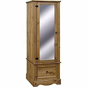 Corona Solid Pine Armoire with Mirrored Door by etrading1