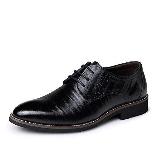 Men's Brown Genuine Leather Lace Up Oxford Shoes Black