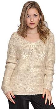 Aarzoo Damen Soft Touch Pullover mit Perlenstickerei