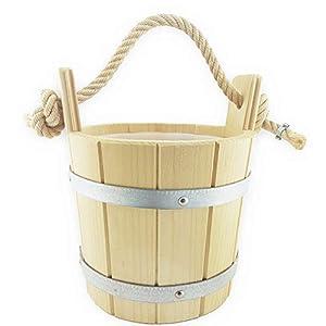 Weigand Saunakübel mit Hanftrageseil und Kunststoffeinsatz I ca. 3.5 Liter I Saunaeimer I Saunazubehör I Sauna I Zubehör I Kübel mit Seil