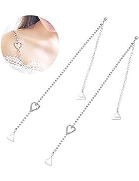 BESTOYARD Sujetador de diamantes de imitación correas de doble cadena Sujetador decorativos correas Bling Crystal...