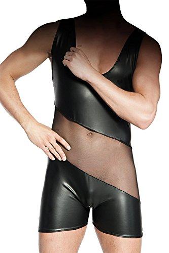 Schwarzer Herren-Body aus Wetlook Material erotisch dehnbar mit Tüll S/M