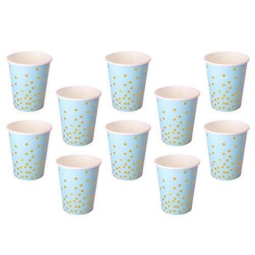 gbecher für Kaltgetränke und Heißgetränke, Pappbecher Umweltfreundlich für Kinder Geburtstag Baby Dusche Hochzeit - Blau (Baby-dusche-cocktails)
