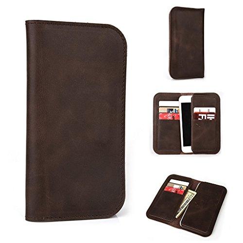 Étui portefeuille en cuir véritable pour Prune Hache Plus/synchronisation 4.0pour Brun - peau Marron - marron