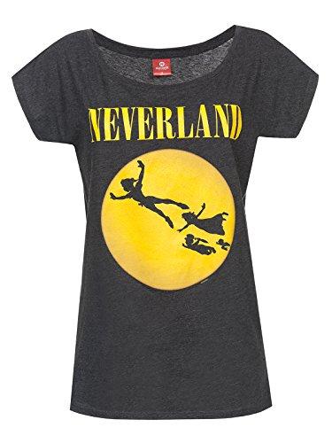 Peter PAN Neverland T-Shirt dunkelgrau meliert S - Shirt Peter Pan Disney