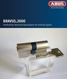 ABUS Bravus.2000 Sicherheits - Doppelzylinder mit 6 Schlüssel, Länge 45/55mm mit Sicherungskarte und höchstem Kopierschutz, Zusatzausstattung: Not- u. Gefahrenfunktion