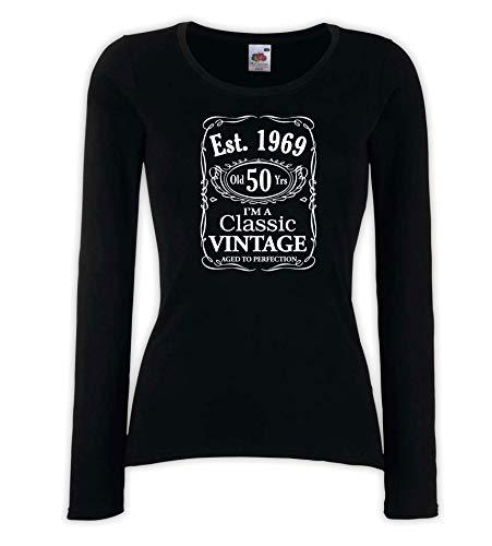 e7caac2555825 Settantallora - T-Shirt Maglietta Manica Lunga Donna J3290 Regalo di  Compleanno per i 50