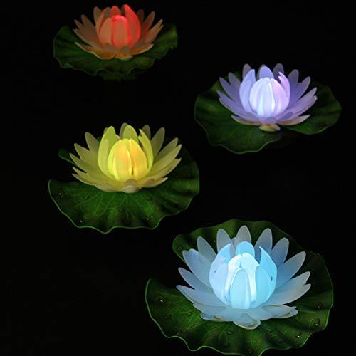 Osaladi luci galleggianti del loto solare, impermeabile galleggiante fiore di loto led luce, acqua lampada della deriva per stagno stagno giardino (luce colorata)
