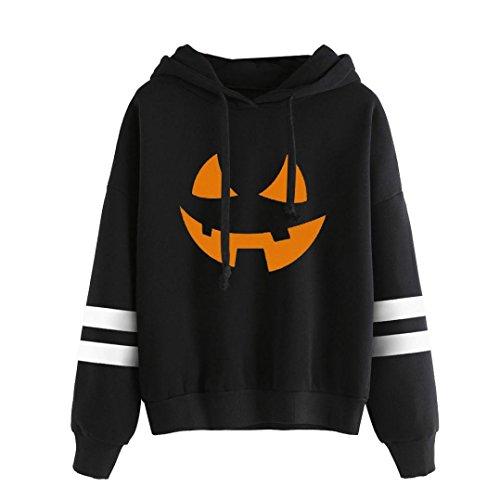 Groß Und Schlank Golf-sport-shirt (Kanpola Frauen Halloween Langarmshirts Druck Hoodie Sweatshirt Pullover Tops Bluse (M, SchwarzB))