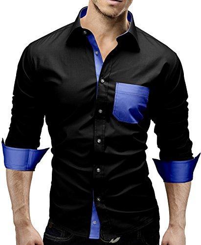 Merish Camicia Uomo, accenti di colore, Camicia classiche, Slim Fit 5 Colori Taglia S - XXL Modell 45 Nero