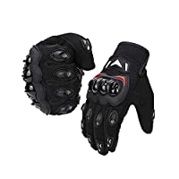 kemimoto Motorcycle Summer Gloves, Motorcycle Riding Gloves for Men Women Touchscreen Breathable Gloves With Knuckle Protection for Motocross Dirt Bike ATV UTV Gift for Father's Day (Black, Large)