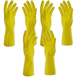 Tools-4-All Hand Care Flocklined Household Rubber Hand Gloves, Set of 3 Pairs