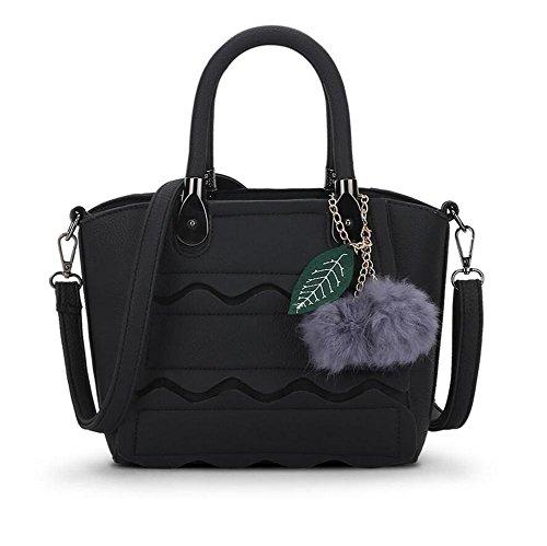 HQYSS Borse donna A tracolla in pelle Donne PU Messenger Bag Palla di pelo Decorato borsa Tote Bag , gray black