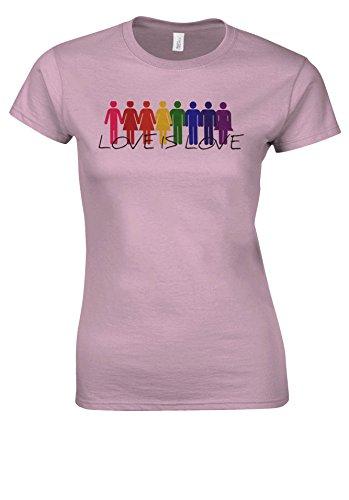 Love Is Love LGBT Gay Lesbian Peace Novelty Forest Light Pink Women T Shirt Top-XXL