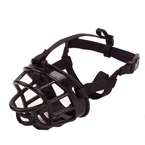 (RIRUI Hund Maulkorb,Einstellbare Kompression Anti-Biss Silikon Hund Hund Mund Hund Maske Hundetraining Heimtierbedarf, Atmungsaktiv, Anti-VerschüTten,Black,XL)