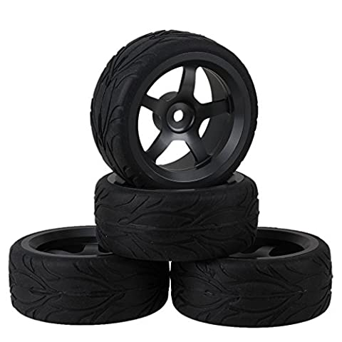 Silver Grey Aluminum Alloy Wheel Rims With 5-Spoke and Black RC 1:10 Fish Scale Pattern Rubber Tyre for RC1:10 On-road Racing Car