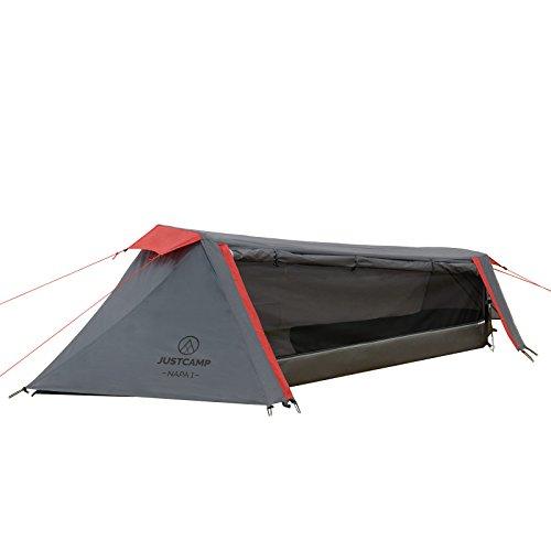 Justcamp Napa 1 Trekkingzelt 2,17 kg leicht (1,35 kg ohne Heringe) & kleines Packmaß (43x11 cm) 1 Personen Tunnel-Zelt - grau
