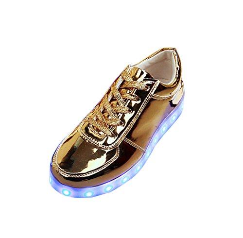 Laufschuhe Nik Loveso USB Lade LED Blinkende Leuchtende Sportschuhe Sneakers Golden