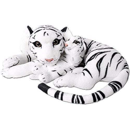 TE-Trend 2in1 XL Plüsch Tiger Tigerbaby Raubkatze Kuscheltier Großkatze liegend 60cm Stofftier weiß getigert
