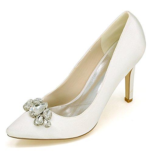 Elobaby scarpe da sposa da donna décolleté da sera strass moda tacchi alti punta chiusa / 9,5 cm tacco, ivory, 43