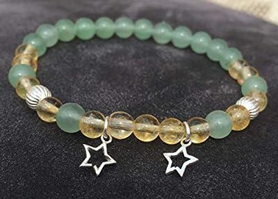 bracelet CITRINE porte bonheur AVENTURINE VERTE et étoile Argent 925 attire l'argent abondance chance pierre naturelle semi-précieuse