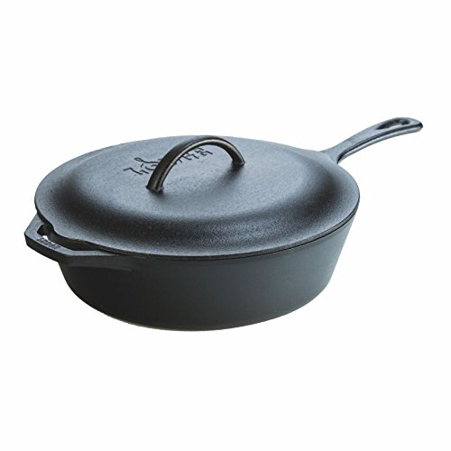 Lodge l10cf35Quart Cast Iron Covered Deep Skillet by