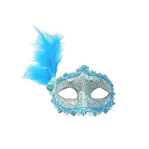 ZHANGXLMM Gefrorene Prinzessin Halloween Weihnachten Silvester Party Maskerade Half Face Erwachsene Mädchen Kind Maske Maske,Blue