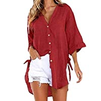 CRYYU Women's 3/4 Sleeve Irregular Hem Button Down Summer Blouse Shirt Tops Red XL