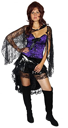 Foxxeo Saloon Girl Burlesque Tänzerin Kostüm für Damen mit schwarzen Rock lila Corsage Bolero Fasching Karneval Größe L