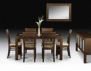 Julian Bowen Santiago Finition wengé Table de salle à manger et Six Chaises, table de taille: H 75cm, L 90cm, L 150cm