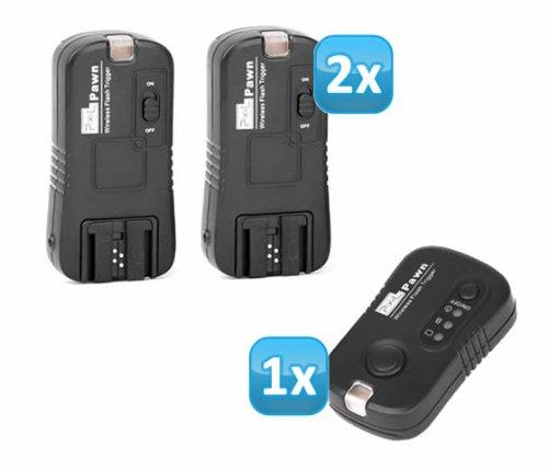 Pixel Pawn TF-363 Funk Blitzauslöser Set mit 2 Empfängern bis 100m für Sony und Minolta Blitzgeräte – Funkauslöser Kamera- und Blitz