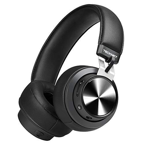 Tecknet cuffie bluetooth senza fili, over-ear headset con doppia connessione e con microfono a cancellazione di rumore, nero