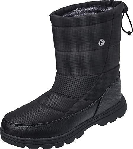 JOINFREE Herren Winter Schneeschuhe Snowproof Outdoor Walking Wandern Warme Schuhe für Frauen Schwarz, 43 EU