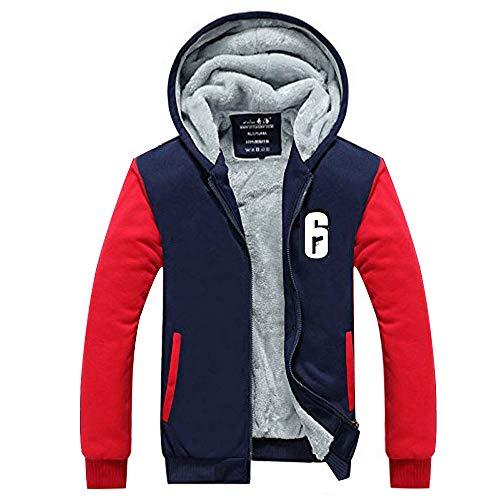 Xcoser Winter Hoodie Plus Dick Zip Jacke Sweatshirt Warm Mantel Unisex Cosplay Verrücktes Kleid Kostüm für Erwachsene Kleidung (Red Sleeve, S) - Für Erwachsenen-kleidung Frauen