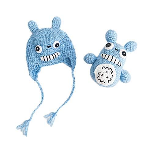 1 Set Baby-Kostüm Fotografie Mütze Spielzeug Wolle Häkelstrick Kinder Neugeborene Geburtstag Foto Cartoon Handarbeit Cosplay Requisiten Mütze Beanie Toys blau