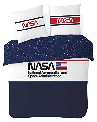NASA Parure de lit 220x240 cm 100% Coton, Bleu/Blanc, 220x240