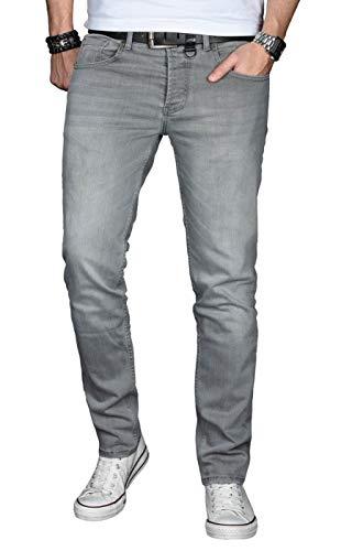 A. Salvarini Designer Herren Jeans Hose Basic Stretch Jeanshose Regular Slim [AS029 - Hellgrau - W34 L34] -