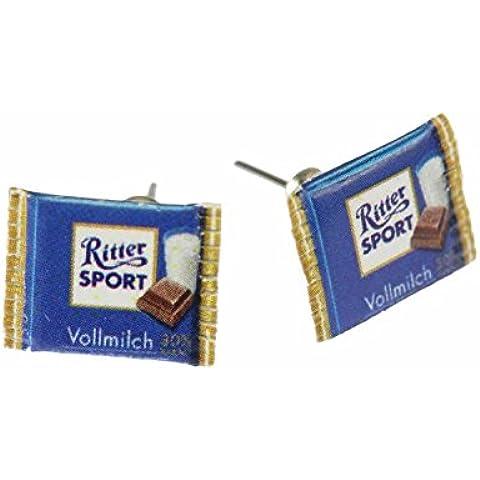 Ritter Sport Miniblings pendientes de tableta de chocolate con leche azul
