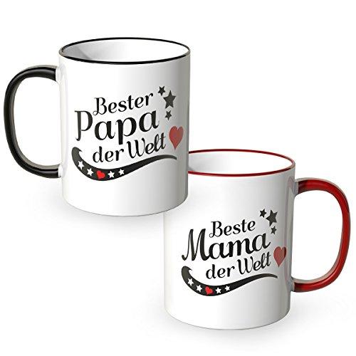 WANDKINGS Tasse, Spruch Beste Mama der Welt und Bester Papa der Welt, 2 Stück im Set, Ideales Weihnachtsgeschenk für die Eltern