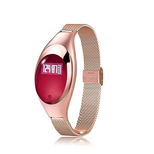Fashion Damen Fitness Activity Tracker Smart bluetooth Handgelenk Schrittzähler Armband Sport Analyse Armbanduhr für Android und IOS Armband , gold