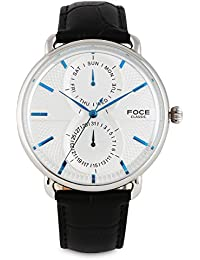 FOCE Analogue Silver and Blue Dial Men's Dome Glass Watch - [FC11SSL-SILVER and B]