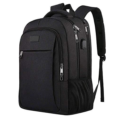 Schule Hochschule Rucksack Bookbag Laptop Rucksack Reisetasche Casual Daypack Mit USB-Ladeanschluss Passt 16-Zoll-Laptop (Color : Black, Size : 18.1×14.2×7.9 inches)