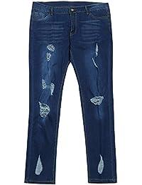 NPRADLA Vaqueros Jeans Tendencia Pantalones de Cintura Alta de Mujer Talla  Extra Rasgada Estiramiento Delgado Jeans b661007e9d03